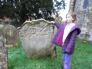 Exploring Gransden graves in Cobham Kent. Richard Gransden died 1760, Cobham Kent, UK.