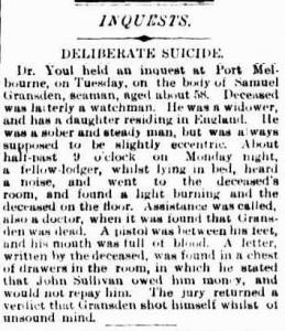 Samuel Gransden death 1884