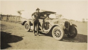 Snowy Rowles and James Ryan's car. Rowles was convicted of the murder of James Ryan. He disposed of Ryan's body using methods similar to those of a murderer in Upfield's 1931 novel The Sands of Windee. PhotographerArthur William Upfield. Out of Copyright- held by the National Library of Australia