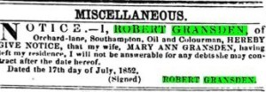 Separation of Robert and Mary Ann nee Stone, Gransden. Hampshire Advertiser and Sailsbury Guardian Sat July 17, 1852.