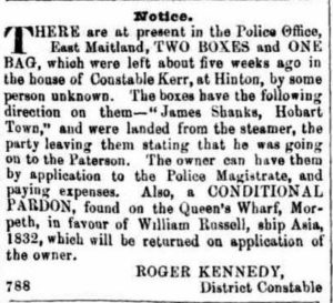 1855 'Classified Advertising', The Maitland Mercury and Hunter River General Advertiser (NSW : 1843 - 1893), 7 February, p. 3. , viewed 26 Apr 2016, http://nla.gov.au/nla.news-article697825