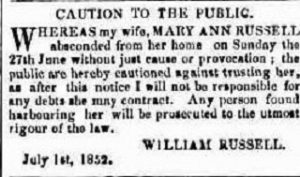 Mary Ann Russell abscond from house of William Russell.