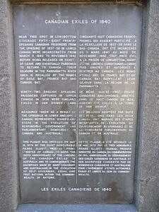 Memorial of Canadian Exiles 1840- Longbottom Tina Bean 2016