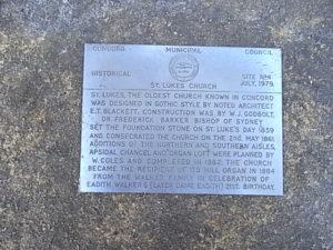 St Lukes Church Concord memorial plaque.  Tina Bean 2016