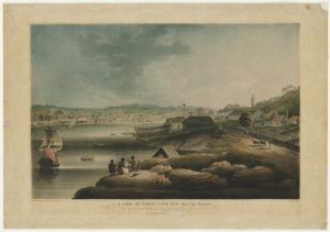 Edward Dayes, 1763­1804 View of Sydney Cove, New South Wales, from an original picture in the possession of Isaac Clementson Esqr. Call Number: V1 / 1802 / 1 Published date: 1802 Digital ID: a1528669 (Courtesy of the State Library of NSW)