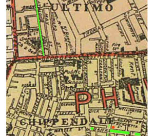 ca. 1885-90 map showing Athlone & Ultimo Streets in Ultimo and Banks Street (now Meagher) and Dale (now Balfour) in Chippendale http://freepages.genealogy.rootsweb.ancestry.com/~jray/raymond/map.htm